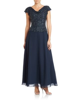 Cowl Neck Beaded Gown by J Kara