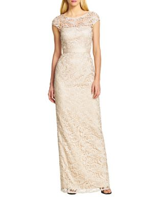 Lace Cap Sleeve Gown by Adrianna Papell