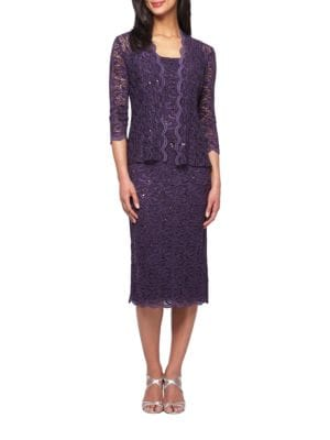 Sequined Lace Dress and Jacket by Alex Evenings