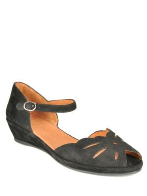 Lily Moon Suede Open-Toe Wedge Sandals by Gentle Souls