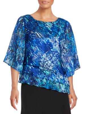 Abstract Print Triple Tier Blouse by Alex Evenings