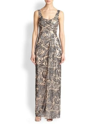 Sequin Drape Gown by David Meister