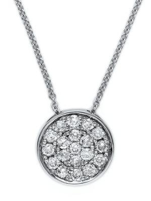 0.28 TCW Diamond And 14K White Gold Pendant Necklace