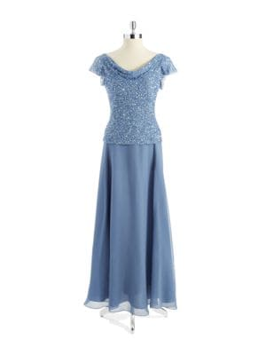 Sequin Mock Top Gown by J Kara