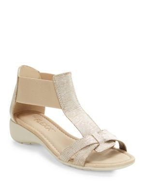 Band Together Saffiano Leather T-Strap Sandals by The Flexx