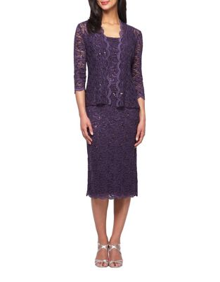 Petite Sequined Lace Jacket and Dress Set by Alex Evenings