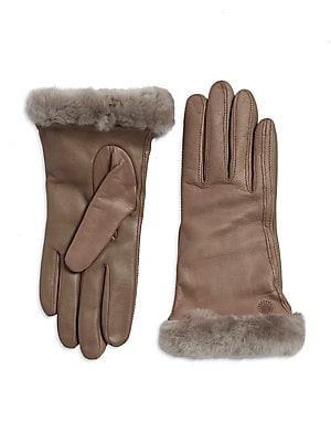 a54fde62a8a Ugg - Classic Shearling-Trimmed Leather Smart Gloves - lordandtaylor.com