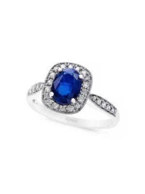 14K White Gold Sapphire...