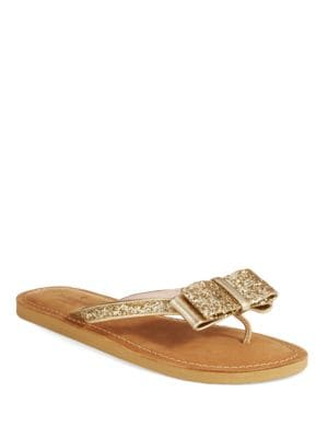 Icarda Glittered Leather Bow Thong Sandals by Kate Spade New York