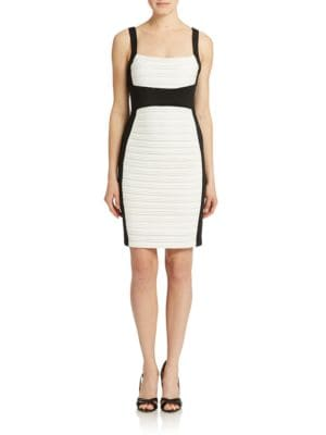 Ribbed Colorblock Sheath Dress by Calvin Klein