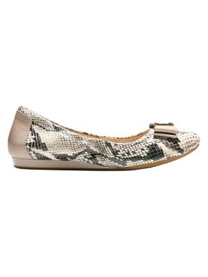 Tali Snake-Embossed Leather Ballet Flats by Cole Haan
