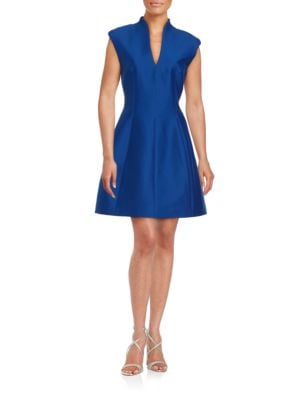 Cotton-Silk Structured Dress by Halston Heritage