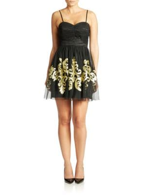 Photo of Hailey Logan Gold Embroidered Cocktail Dress