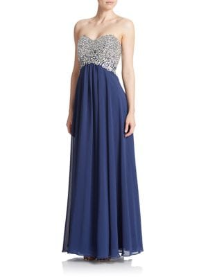 Plus Embellished Strapless Gown by Decode 1.8