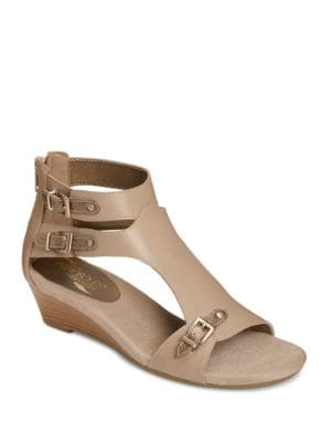 Yet Another Leather Wedge Sandals by Aerosoles