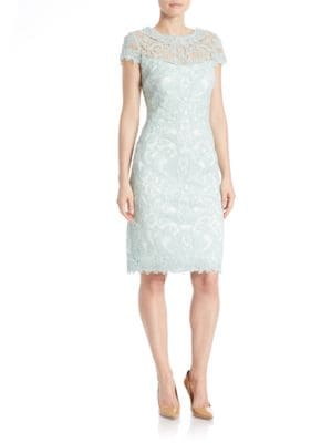 Soutache-Embroidered Sheath Dress by Tadashi Shoji