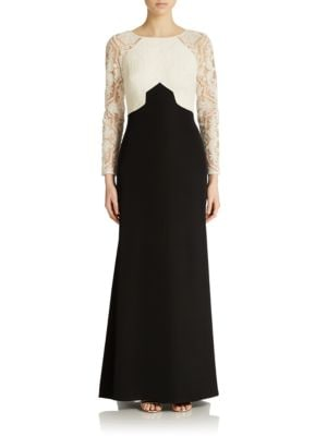 Embroidered Colorblock Gown by Tadashi Shoji