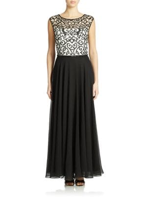 Sequined Bodice Gown by J Kara