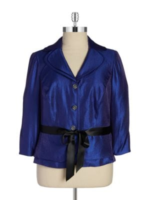 Shimmery Belted Blazer by Adrianna Papell