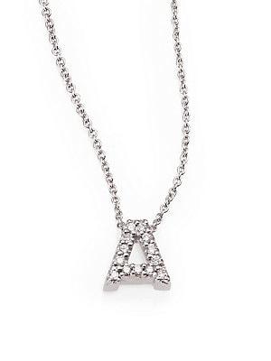 b7958270df711 Roberto Coin - Tiny Treasures 0.08 TCW Diamond & 18K White Gold Initial  Necklace