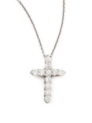 0.45 TCW Diamond and 18K White Gold Cross Pendant Necklace