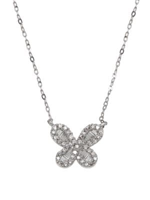Image of Diamond and 14K White Gold Butterfly Pendant Necklace