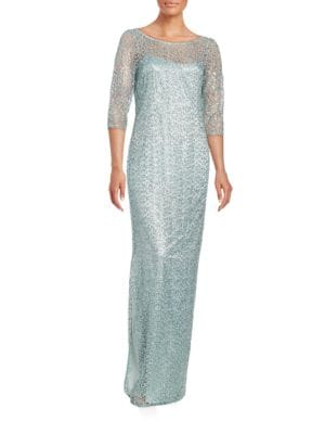 Beaded Lace Sheath Gown by Kay Unger