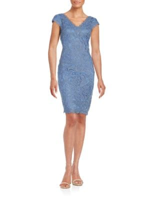 Cap Sleeved Lace Sheath Dress by Tadashi Shoji