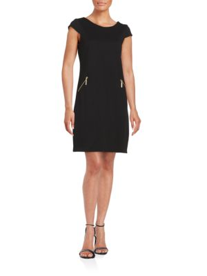 Zip Pocket Shift Dress by Chetta B