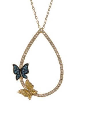 Image of Multi-Color Diamond and 14K Yellow Gold Butterfly Pendant Necklace
