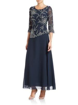 Asymmetrical Beaded Gown by J Kara