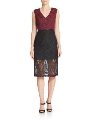 Lace Blocked Sheath Dress by A.B.S. By Allen Schwartz