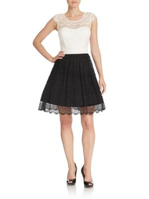 Colorblocked Lace Fit-and-Flare Dress by Jessica Simpson