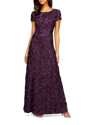 Plus Embellished Rosette Gown by Alex Evenings