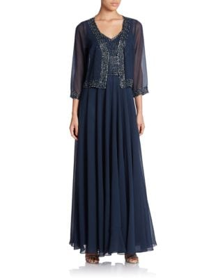 Beaded V Neck Gown And Jacket by J Kara