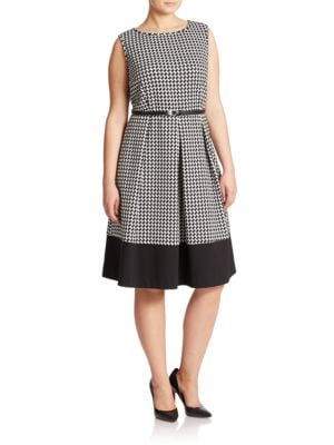 Plus Pleated Fit and Flare Dress by Calvin Klein