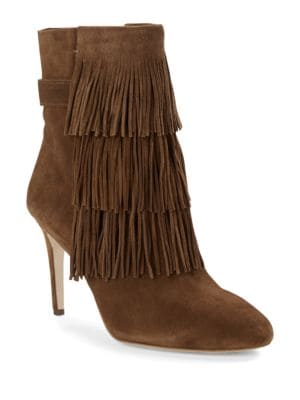 Vesta Suede Fringed Ankle Boots by Via Spiga