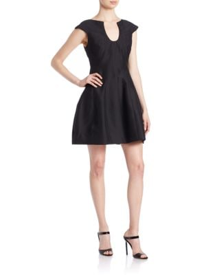 Notched-Neck Fit-and-Flare Dress by Halston Heritage