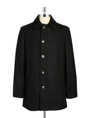 Wool-Blend Button Topcoat...