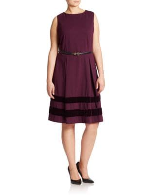 Plus Striped Fit-And-Flare Dress by Calvin Klein
