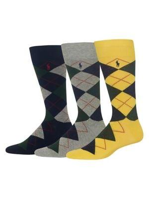 Three-Pack Argyle Socks...