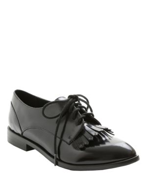 Peyton Faux Patent Leather Fringed Oxfords by Kensie