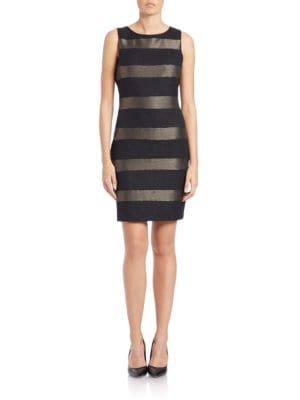 Metallic Striped Sheath Dress by Rolando By Rolando Santana