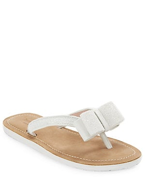 ffcdcab0c459 Kate Spade New York - Icarda Glittered Leather Bow Thong Sandals -  lordandtaylor.com