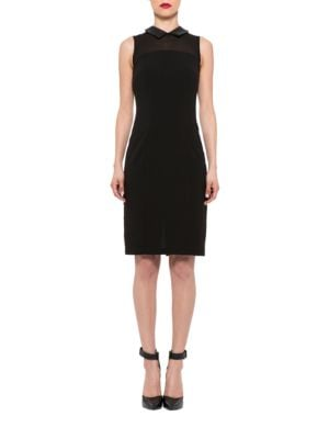 Collared Faux Leather-Trimmed Sheath Dress by Alexia Admor