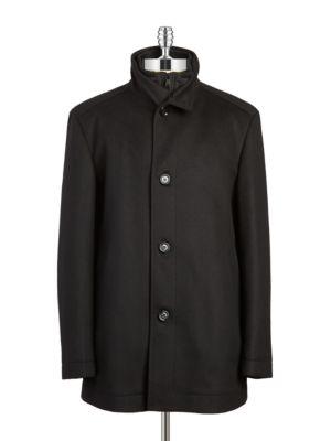Wool Zip-Front Coat @...