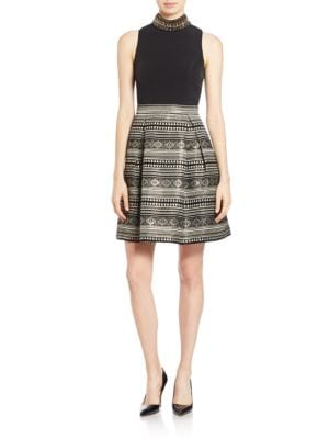 Tribal Print Fit-and-Flare Dress by Vince Camuto