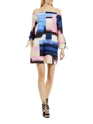 Tonal-Printed Off-The-Shoulder Dress by Nicole Miller New York