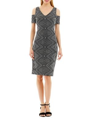 Printed Fitted Cold-Shoulder Dress by Nicole Miller New York