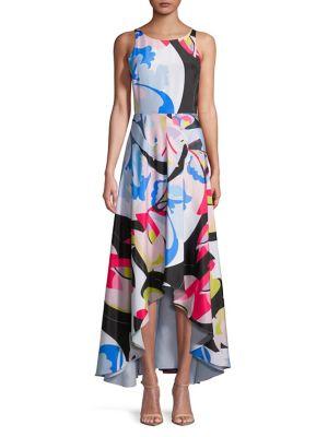Printed Asymmetric-Hem Sleeveless Dress by Nicole Miller New York